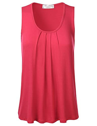 FLORIA Womens Round Neck Pleated Front Sleeveless Stretchy Blouse Tank Top Coral 2XL Dolman Sleeve Cowl Neck
