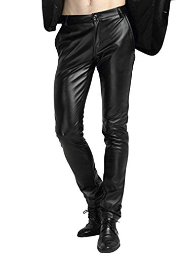 Yeokou Men's Skinny Straight Leg Tapered Pu Faux Leather Motorcycle Biker Pants (34, Black)