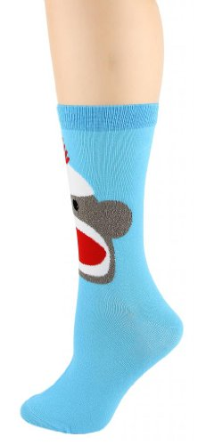 Foot Traffic -Women's Animal-Theme Socks, Sock Monkey Turquoise (Shoe Size -