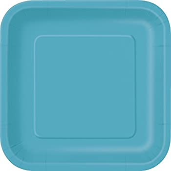 Square Teal Paper Plates 14ct  sc 1 st  Amazon.com & Amazon.com: Square Teal Paper Plates 14ct: Kitchen \u0026 Dining