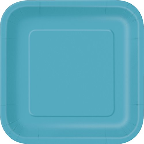 Square Teal Paper Plates 14ct
