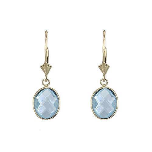 (14K Yellow Gold Handmade Gemstone Earrings with Dangling Oval Shape Blue Topaz)