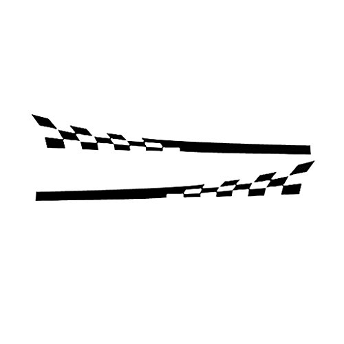 Baoblaze 2 Pieces Racing Wavy Checkered Flag Side Stripes Decals for Mitsubishi Cool Design - - Flag Decal Wavy