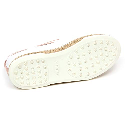 F0414 Tod's Woman Slip pink Bianco Scarpe rosa Loafer On Donna Mocassino Shoe White rwCqra