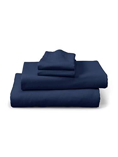 Eddie Bauer Unisex-Adult Portuguese Flannel Sheet Set - Solid, Midnight King KIN ()