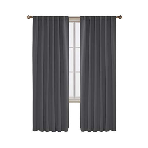 Deconovo Room Darkening Rod Pocket and Back Tab Curtains Thermal Insulated Blackout Curtains for Bedroom 52x84 Inch Dark Grey Set of 2 (Thermal Curtain)