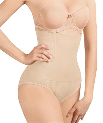 ShaperQueen 102C Best Womens Waist Cincher Body Shaper Trimmer Trainer Slimmer Thong Girdle Faja Bodysuit Short Tummy Belly Control Brief Corset PlusSize Underwear Panty Shapewear (4XL, Nude)