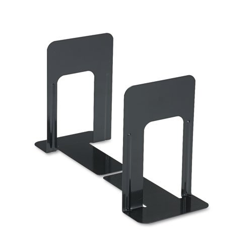 Economy Bookends, Standard, 5 7/8 x 8 1/4 x 9, Heavy Gauge Steel, Black - Edge Reinforced Bookcase Finish