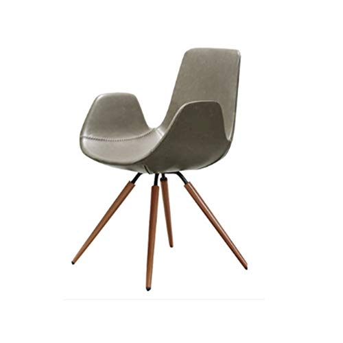 Dining Chairs Seat Chair Leather Art Creative Stable Leisure Multiple Color Selection ZHANGAIZHEN (Color : Gray) ()