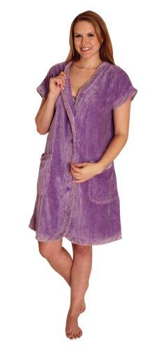 NDK New York Women's Chenille Robe Knee Length Cotton Blend, Lilac, Medium