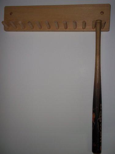 Wood Baseball Mini Bat Rack Holder up to 11 Collectible Bats Natural Finish by Baseballrack