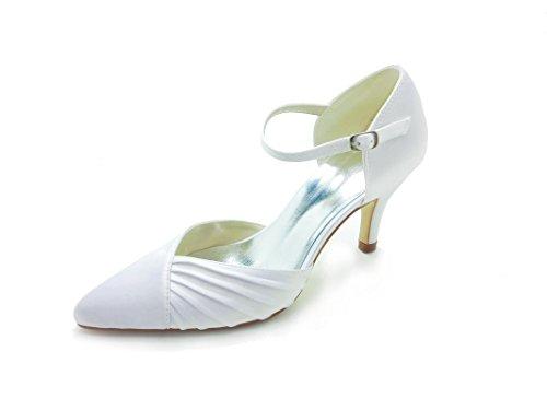 JIA JIA Damen Brautschuhe 3731 Spitzschuh Mittlere Ferse Satin Pumps Rüschen Hochzeitsschuhe Weiß