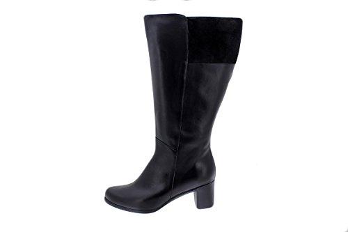 PieSanto Komfort Damenlederschuh 175873 XL Breite Stiefelschaft Negro (Black)