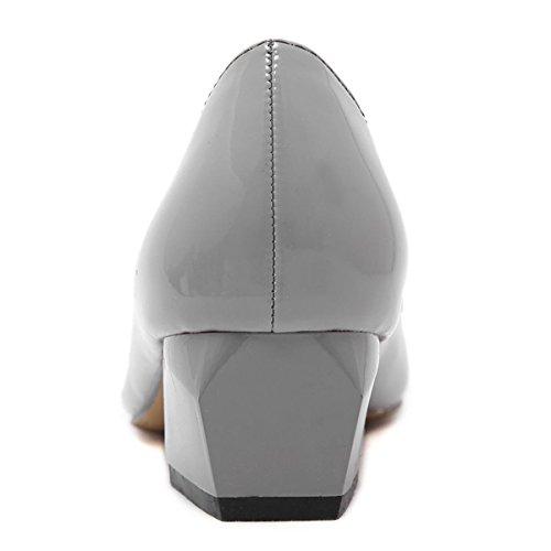 Punta Señoras eur37uk455 Mediados Gris Corte Nueva Zapatos Trabajo Rhinestones Únicos Gray De Ocio Patente Primavera Mujeres Puntiagudos Bombas uk Otoño Nvxie Boca Negro 3 Tacón Baja Moda Raso Eur 35 57Cw8xq