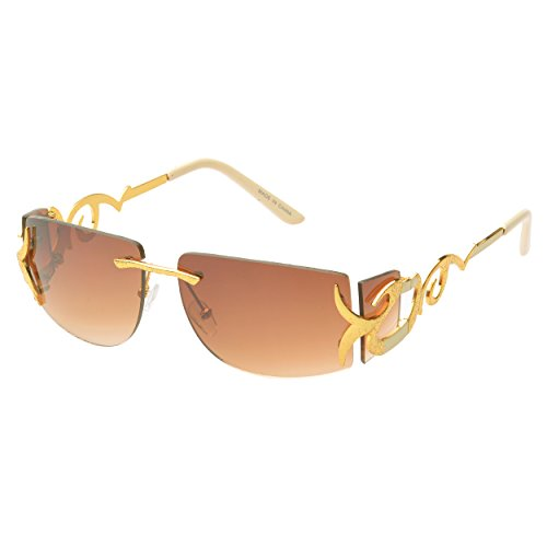MLC Eyewear® 'Cassia' Rimless Rectangle Fashion Sunglasses in - Rimless Rectangle Sunglasses