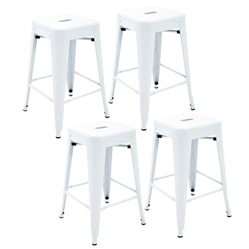 Porthos Home ZFC002A WHT Stackable Indoor Outdoor Metal Patio Counter, 24 Seat Height Set of 4 Bar Stools, One Size, White