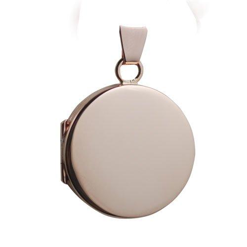 Médaillon à loquet rond 20mm en or rose 375/1000, simple et plat