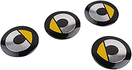ZQTG 4pcs Car Wheel Center Hub Cap Stickers For Mercedes Benz Smart Fortwo 450 451 453 Forfour Yellow Yellow