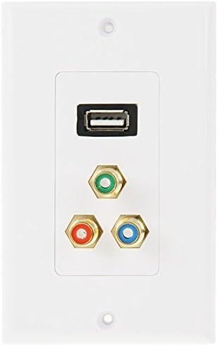 マルチポートサイディング USB 2.0女性プラグ+ 3 RCAメスプラグウォールプレートパネル、シンプルで実用的