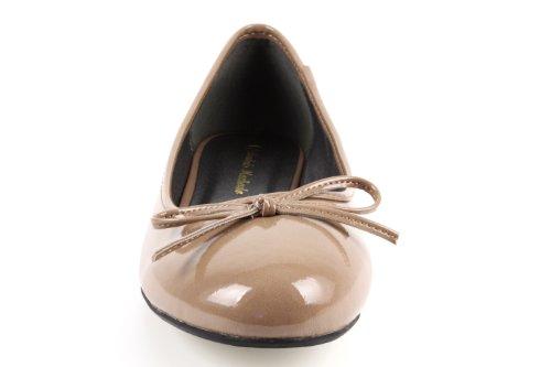 Andres Machado - TG104 - Klassische Ballerinas mit Schleife.EU 41 bis 46 Lack Braun