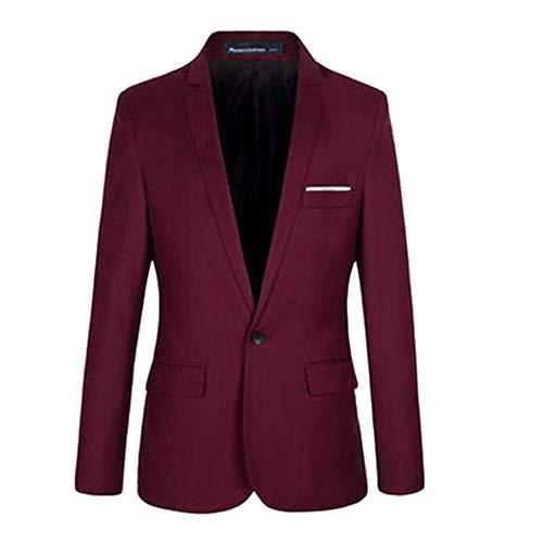 Manica Giacche Fit Semplice Xfentech Rosso Moda Uomo Lunga Giacca Blazer Slim Cappotto Elegante Casuale vSz8Rv