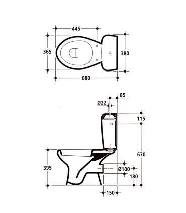 A Magazzino Bianco Ceramica Dolomite Dolomite Serie Donatello entrata Alta J508701 Cassetta monoblocco WC