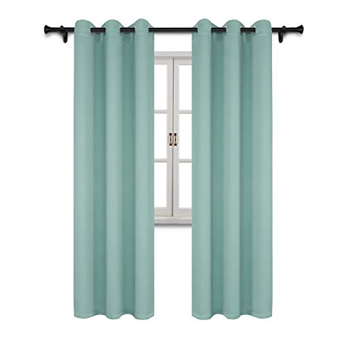 SUO AI TEXTILE Home Fashion Thermal Insulated Drapes Solid Grommet Top Blackout Curtain Panels for Living Room/Bedroom Width 37 Inch Length 95 Inch Aqua 2 Panels ()