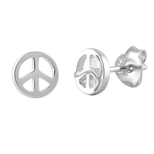 (Peace Sign Stud Earrings Sterling Silver - 6mm)