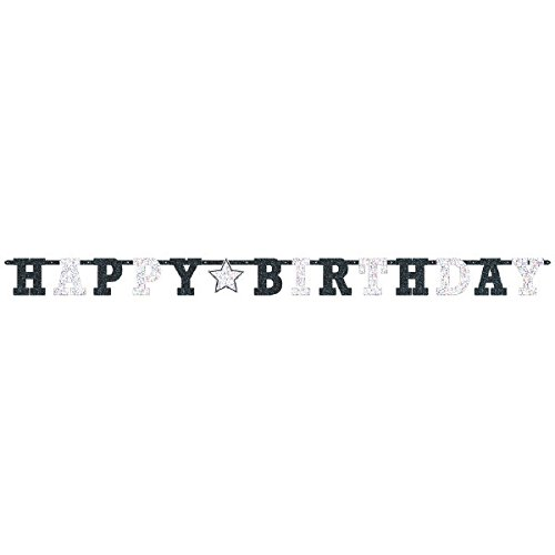 and White Birthday Party Prismatic Letter Banner Decoration, Multi , 8 Feet x 6 1/2