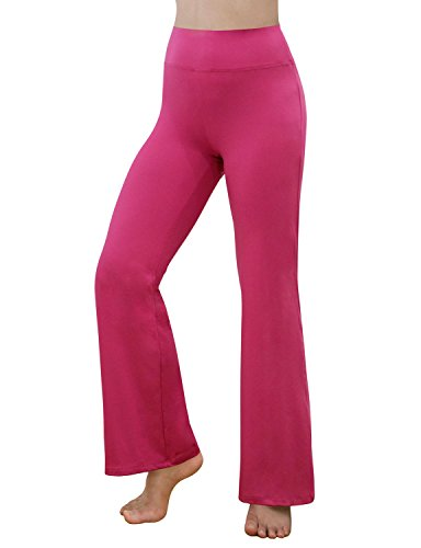 REETOYO Women's Power Flex Tummy Control Workout Yoga Boot Cut Flares Pants Golf Pants Running Pants with Inner Pocket, Fuchsia, Small ()