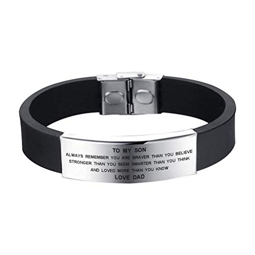 SOUSYOKYO to My Son Always Remember You are Braver Bracelet from Dad Family Jewelry Graduation Gift