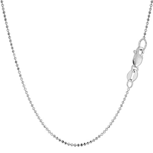 14k White Gold Diamond Cut Bead Chain Necklace, 1.2mm, 18
