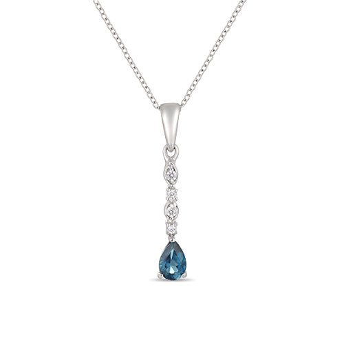 Jewel Ivy Mother's Day Gift, 925 Sterling Silver Pendant with Cubic Zirconia & London Blue Topaz (Sterling Topaz Pendant)