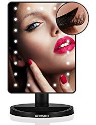 (Bornku Lighted Makeup Mirror with Magnification B91 Vanity Mirror with Lights Make Up Illuminated Cosmetic LED Mirrors with Removable 10x Magnifiying Mirrors 21 LED Lights Dimmable Touch Screen)