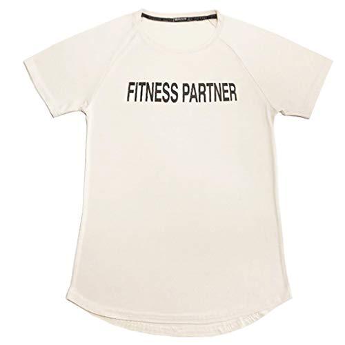 (KLGDA Men's Fitness Short Sleeve Top Letter Printing Blouse Khaki)