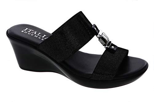 ITALIAN Shoemakers Womens Doda Wedge Sandal (10, Black)