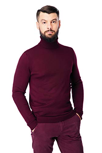 Men's Merino Wool Turtleneck Sweater Classic Midweight Long Sleeve Pullover (Burgundy, Medium)