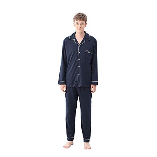 Pijama Pijamas de Hombre Pijamas de algodón Pareja Chaqueta de Punto de algodón de Manga Larga para el hogar de otoño e...