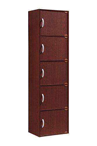 Hodedah 5 Door, Five Shleves, Enclosed Storage Cabinet, Mahogany by HODEDAH IMPORT (Image #1)