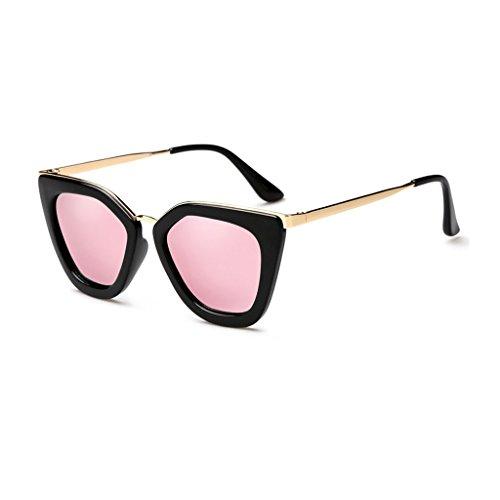 LIZHIQIANG Individual Sunglasses Female Tide Polarized Sunglasses Irregular Box Retro Fashion Glasses (Color : Bright black box cherry powder (Es Vintage Black Cherry)