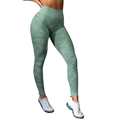 - E-Scenery Womens High Waisted Camo Seamless Leggings Gym Capri Tight Yoga Pants (Green, Small)