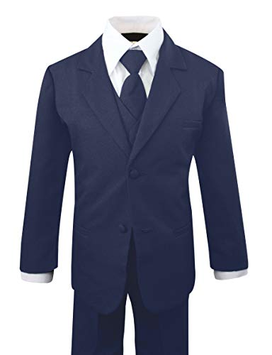 Luca Gabriel Toddler Boys' 5 Piece Classic Fit No Tail Formal Navy Blue Dress Suit Set with Tie and Vest - Size ()