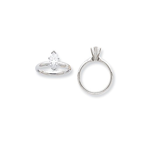 - Jewelry Adviser 14k White Gold 3/4ct. V-End Comfort-Fit Marquise Solitaire Mounting