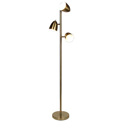 Torchiere Antique Brass Lamp (Brightech Jacob - LED Reading and Floor Lamp for Living Rooms & Bedrooms - Classy, Mid Century Modern Adjustable 3 Light Tree - Standing Tall Pole Lamp with 3 LED Bulbs - Antique Brass/Gold)