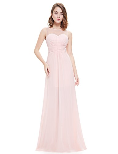 Ever-Pretty Womens Elegant Round Neck Long Evening Dress 12 US Pink