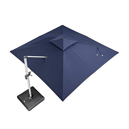 PURPLE LEAF 12 Feet Double Top Deluxe Square Patio Umbrella Offset Hanging Umbrella Cantilever Umbrella Outdoor Market Umbrella Garden Umbrella, Navy Blue