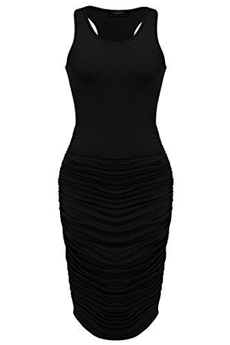 Zeagoo Women S Summer Sexy Stretch Ruched Sundress Fold
