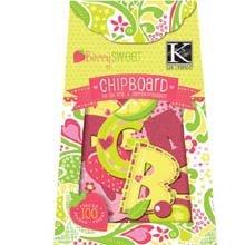 K&Company Berry Sweet Chipboard Box, Glitter Alphabet 100