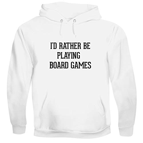 I'd Rather Be Playing BOARD GAMES - Men's Soft & Comfortable Pullover Hoodie, White, Large (Farmville Market)