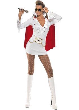 Ladies Fancy Dress (Elvis Viva Las Vegas Fancy Dress Costume Ladies (Music))
